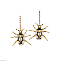 Betsey Johnson Crystal and Enamel Beetle Dangle Earrings