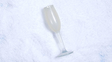 Bijou's glass of bubbly for dogs