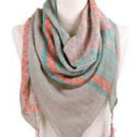 Gerrie pink & teal tassel scarf