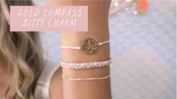 Pura Vida Club-June 2017, Gold Compass Charm Bracelet Only
