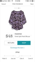 Fun2fun Farlie Split Neck Blouse