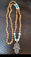 Hamsa Hand Necklace with Pearls and Turquoise Stones