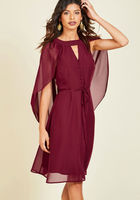 Icing on the Cape A-Line Dress in Burgundy