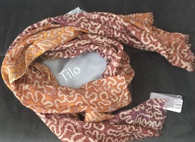 Tilo Mosaic Cashmere Scarf-Brown
