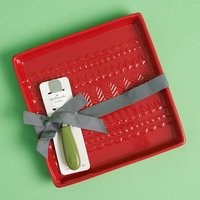 Hallmark Home Red Embossed Tray with Spreader