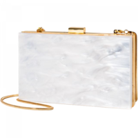 Rachel Zoe for Box of Style Clutch White Marble & Gold