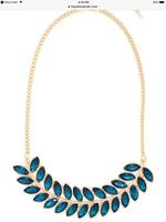 Faceted Teal Leaf statement necklace