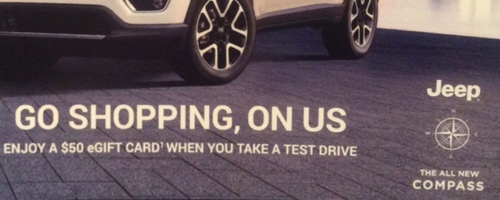Multi-Retailer Gift Card w/ Jeep Test Drive