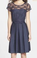 Taylor Illusion Yoke Fit & Flare Dress