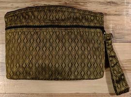 Unique fair trade zippered cosmetics pouch