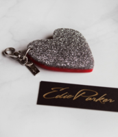 Eddie Parker Heart Bag Charm in Silver