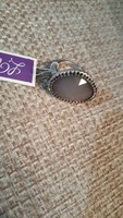 Grey silver toned statement ring - size 6