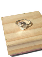COMPASS RING HANDMADE GOLDTONE OVER SILVER