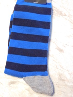 Hot Sox, navy and primary blue striped socks