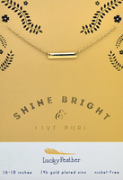 Lucky Feather Shine Bright Bar Necklace in Gold