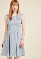 I Rest My Grace A-Line Dress in Poodles Dusty Blue
