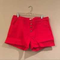 Red high rise shorts