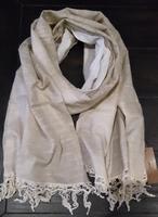 Cream Linen / Cotton Crocheted Edge Scarf