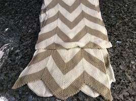 Tan and Ivory Chevron Knit scarf from The Royal Standard