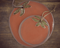 Tomato Cutting Board in Terra Cotta Clay finished in Tomato Red with Green Leaf Accents by Summer Triangle Pottery