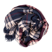 Olive & Pique Plaid Blanket Scarf in Navy