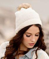 Kira knit beanie with fur pom-pom