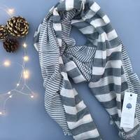 Sagar Gray Cotton Scarf by Bloom & Give