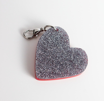 Edie Parker Heart Charm in Pink & Silver