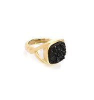 Rivka Friedman Black Druzy Ring