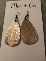 More +Co Leather gold teardrop earrings