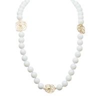 Jardin- white beaded flower necklace