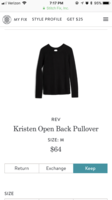Rev Kristen open back sweater size M