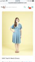 Gilli Teal V-neck flutter sleeve dress