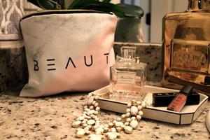 Marble & Peachy Cosmetic Bag by Beaut Beauty