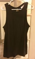 Black Knit Tank Top with Satin Tie Accent on Back