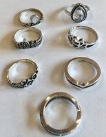 Stackable 7 Piece Silver Ring Set