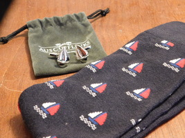 AUS sailboat cufflinks and socks