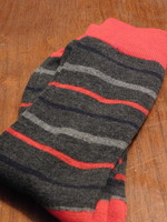 Bitton gray socks with multi red & blue stripes
