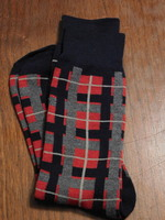 Red, Grey, Blue abstract socks