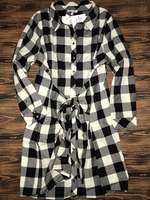 Skies are Blue Buffalo Plaid Tie Waist Dress-1X