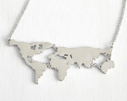 """""""Worldly Wonders"""" Map Necklace"""