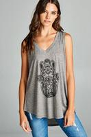 Hamsa Print Muscle Tank Top Grey (LA Soul)
