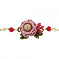Les Nereides Pink Flower and Red Berry Bracelet