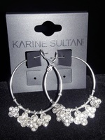 Karine Sultan (France) Sterling Silver Plated Earrings w/ Clover Charms