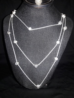Karine Sultan (France) Sterling Silver Plated & Crystals Layered Necklace