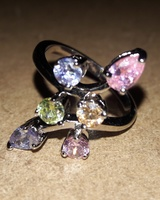 Taya Floral Inspired Sterling Silver Gold Plated Ring, CZ Silver/White with Color Stones