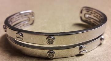 Walter Baker CZ Stones & Bolt/Screwhead Cuff Bracelet