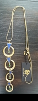 House of Harlow long blue and Gold tone statement necklace