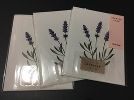 Three botanical scented cards in lavender