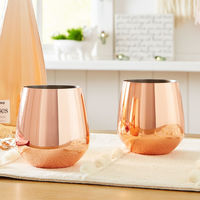 Copper Stainless Steel Stemless Wine Glass